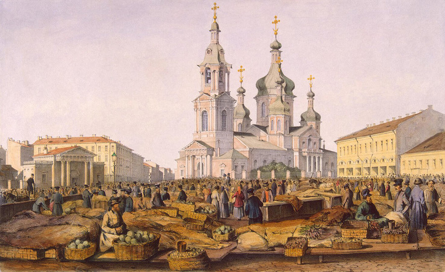 Lukisan Gereja Penyelamat di Lapangan Sennaya di Sankt Peterburg.
