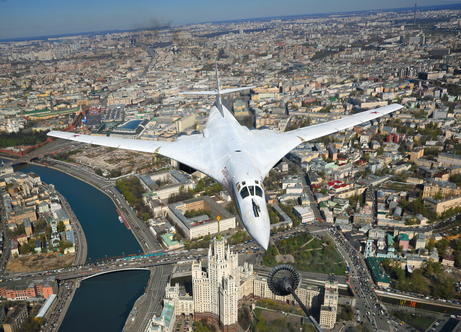 The Tupolev Tu-160 strategic bomber in the sky above Moscow.