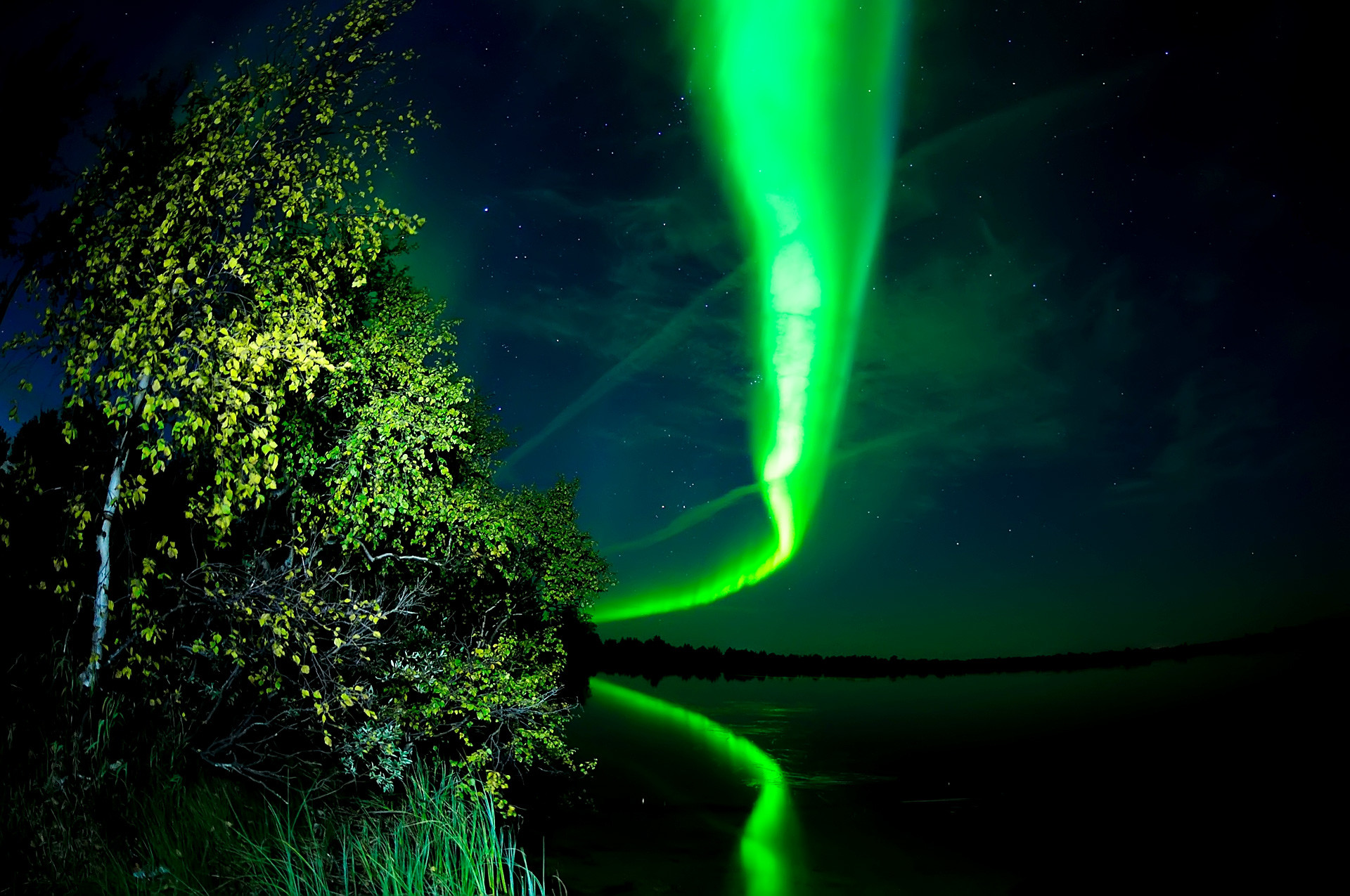 Northern Lights with reflection in the lake, Naryan-Mar.
