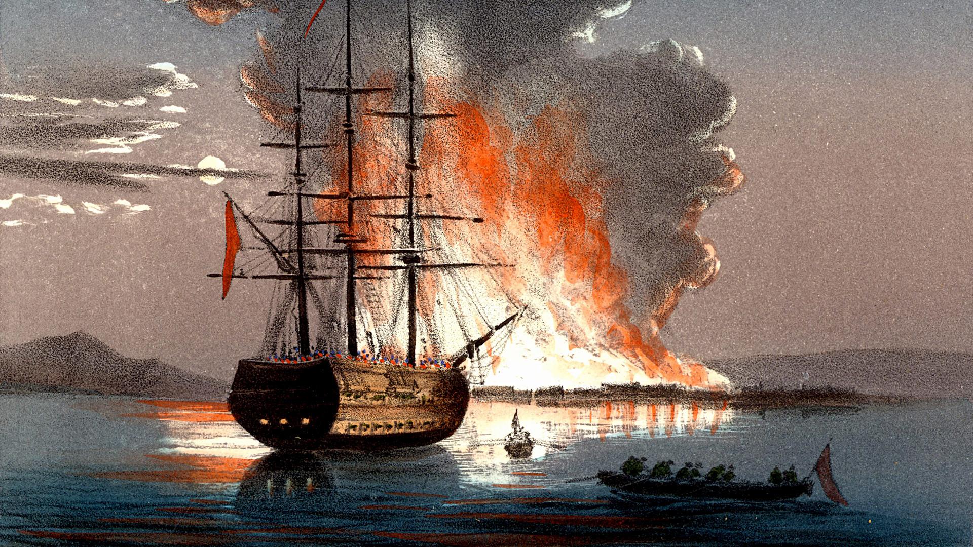 Pembakaran kapal di Kale (Canakkale) di Dardanelles (Hellespont) selama Perang Krimea. Litograf berwarna diterbitkan di Italia pada 1857.