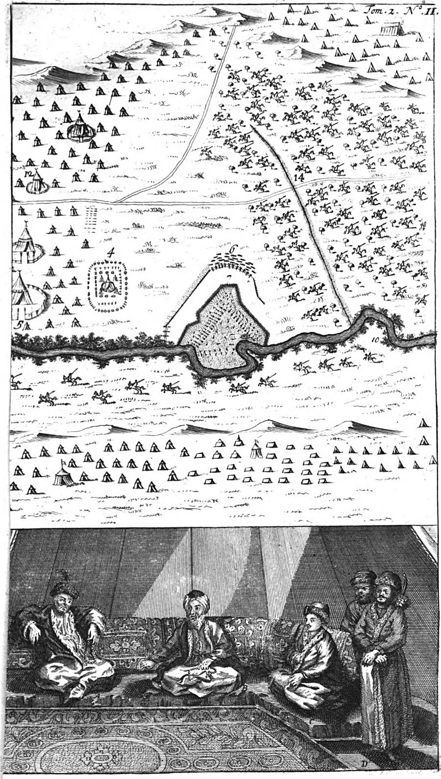Bataille du Prout. Ilustrasi dari William Hogarth (1697 – 1764) untuk 'Travels' oleh Aubry de la Motraye, 1724.