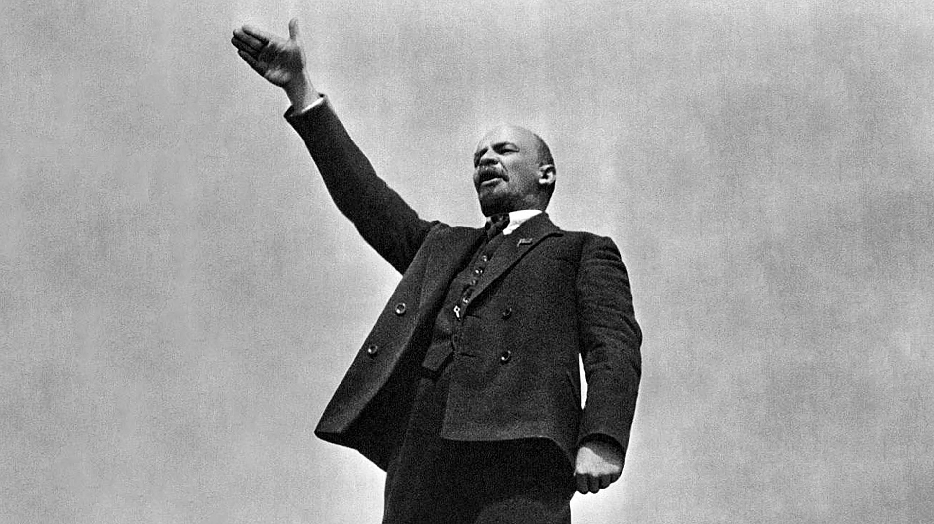 Vladimir Lenin delivering a speech at the Red Square in Moscow