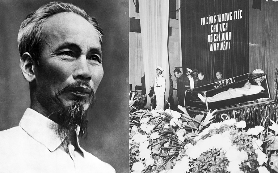 Ho Chi Minh, a Vietnamese revolutionary leader (before and after his death in 1969).