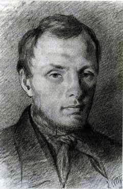 Fjodor Mihajlovič Dostojevski pri 26 letih, avtor skice Konstantin Aleksandrovič Turtovski, 1847