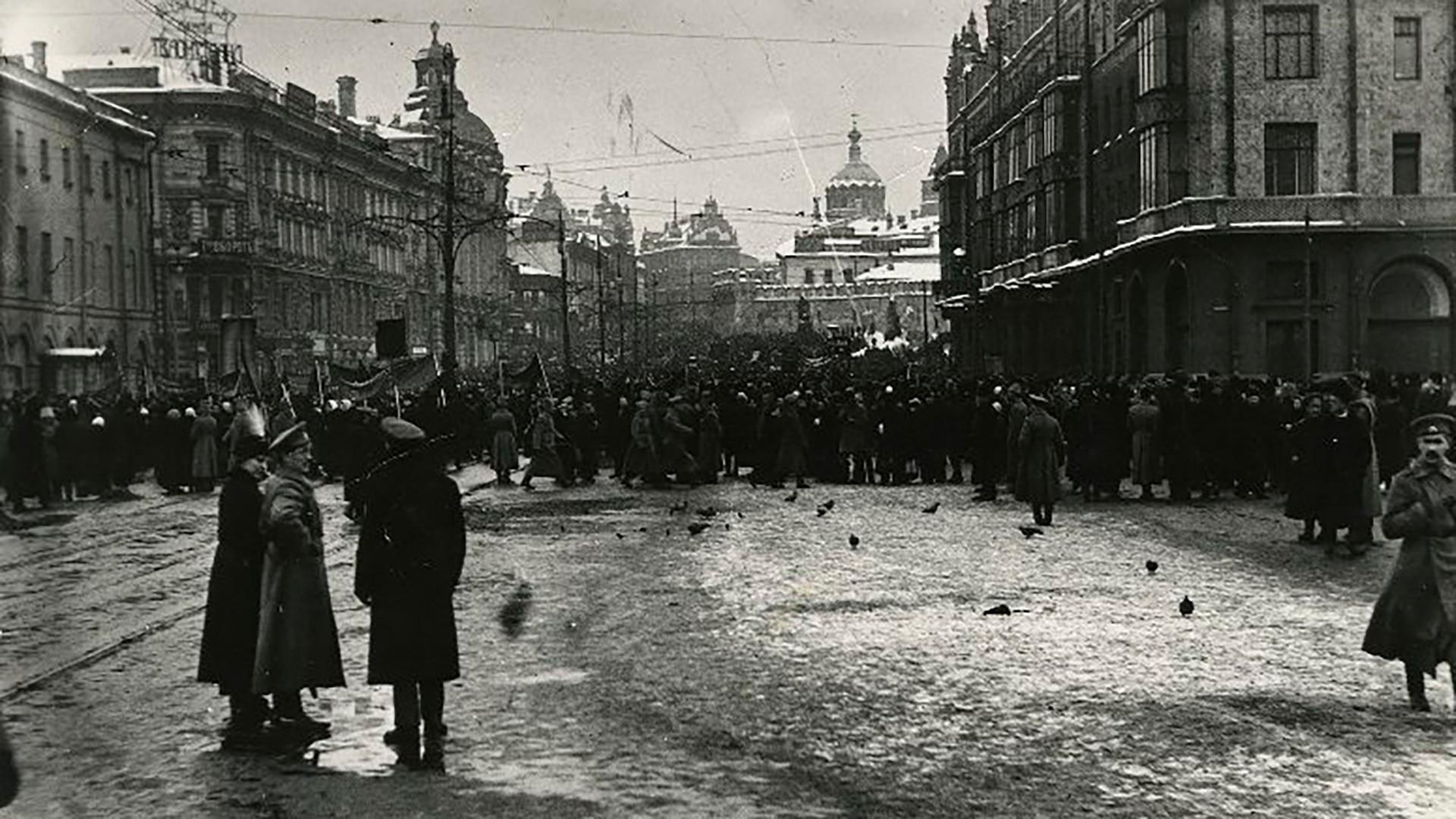 ロシア革命の初日、モスクワ