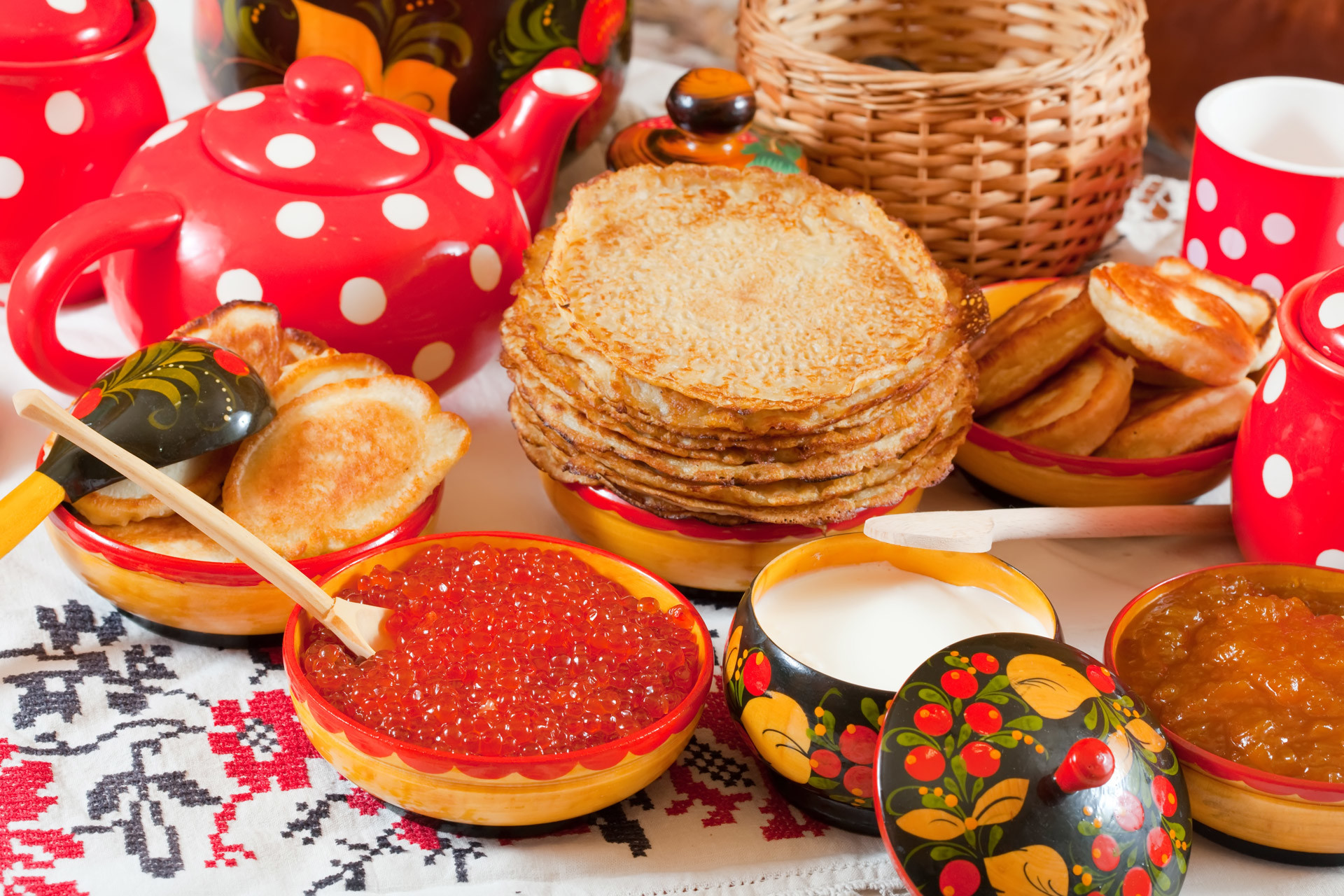 Russian traditional foods.