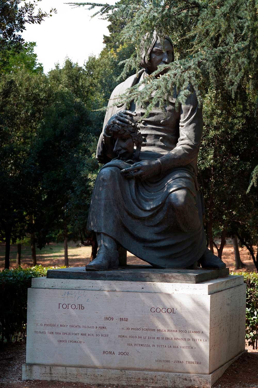 Nikolai Gogol statue in the Villa Borghese gardens in Rome