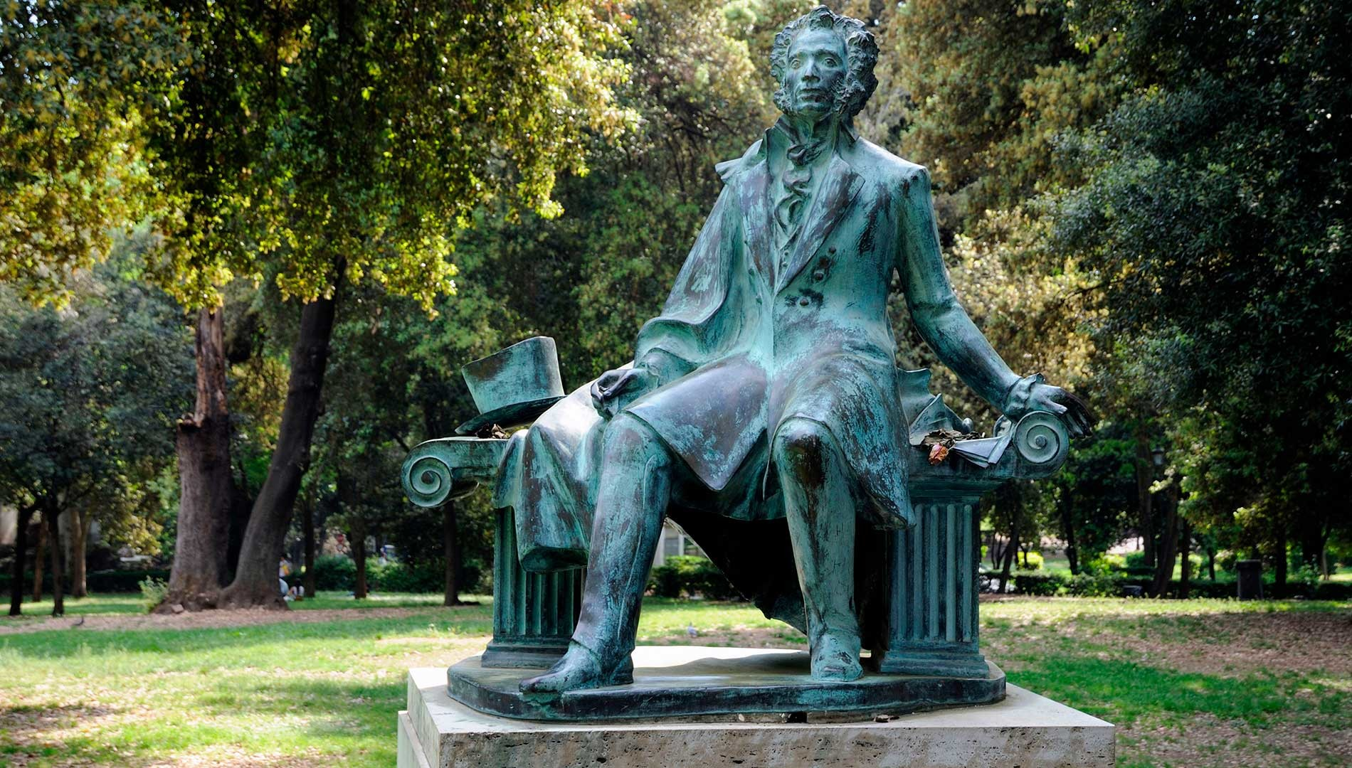 Monument to Pushkin in Rome, Villa Borghese gardens