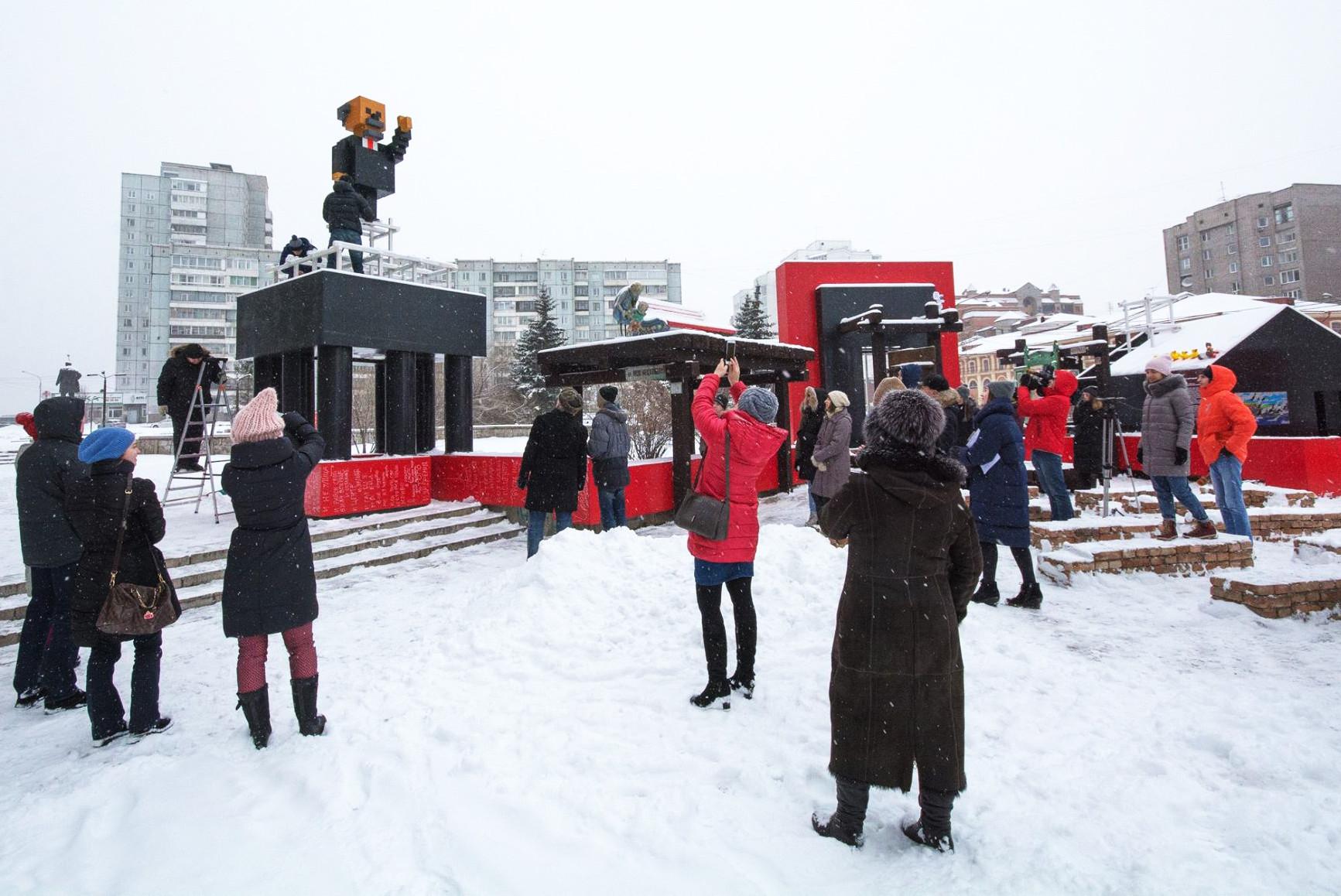 A statue of Vladimir Lenin in Krasnoyarsk