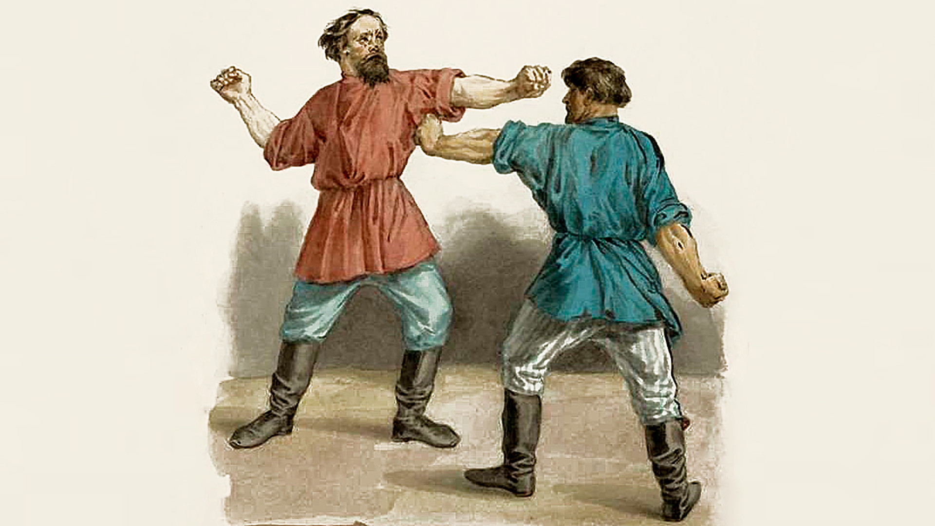 An episode from a fist fight (19-century illustration)