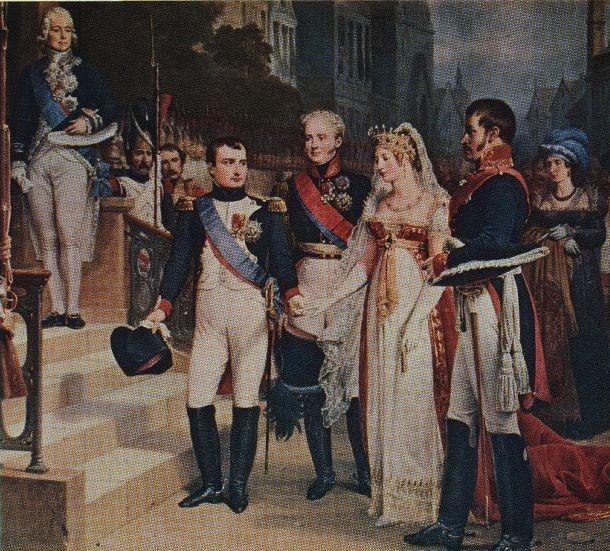 Ein Jahr später... Nicolas Gosse: Empfang beim Frieden von Tilsit 1807. Außenminister Charles-Maurice de Talleyrand-Périgord, Napoleon Bonaparte, Kaiser Alexander I., Königin Luise und ihr Gatte König Friedrich Wilhelm III. von Preußen.
