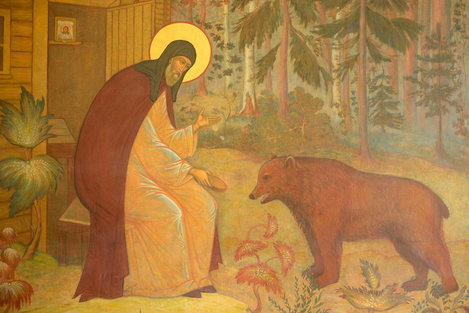 Fresco with Saint Sergius and the bear, Trinity Sergius Lavra