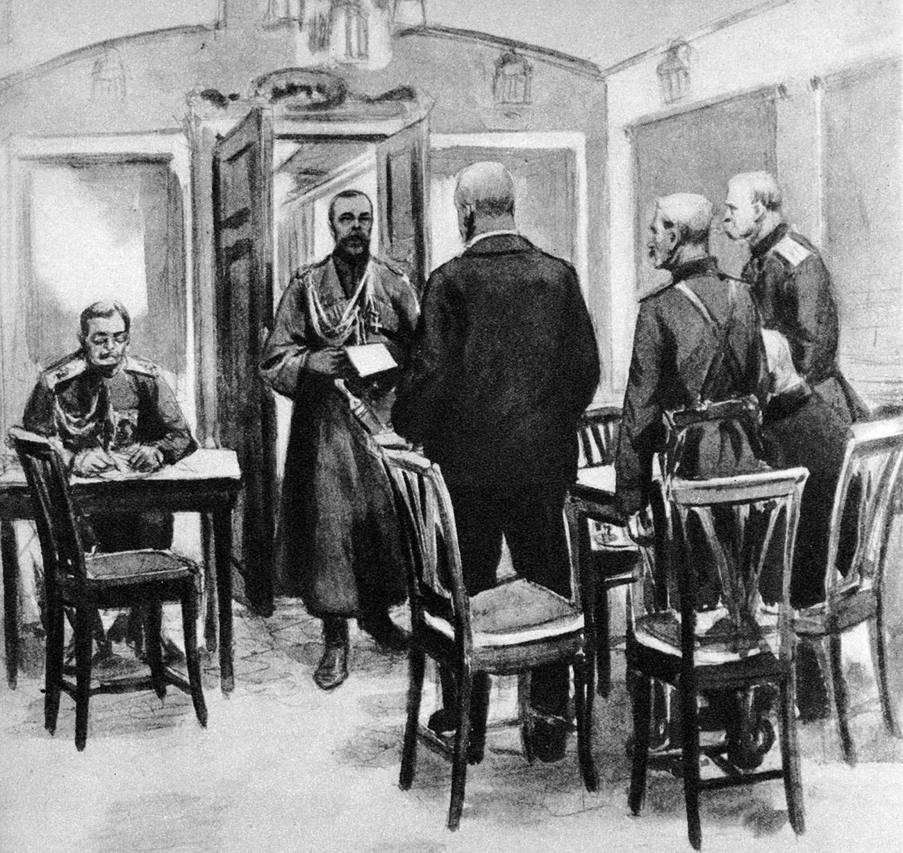 Царот Николај Втори (1968-1918) го чита актот на абдикација на гласниците на Керенски во својот личен вагон во Царское Село. Илустрација на настанот од 15 март 1917 година.