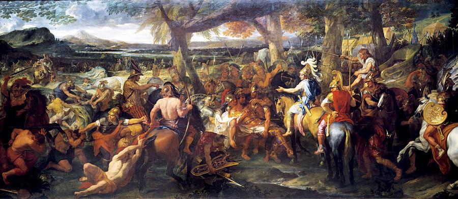 Александър се среща с Пор след битката, Художник Шалр Льо Брен