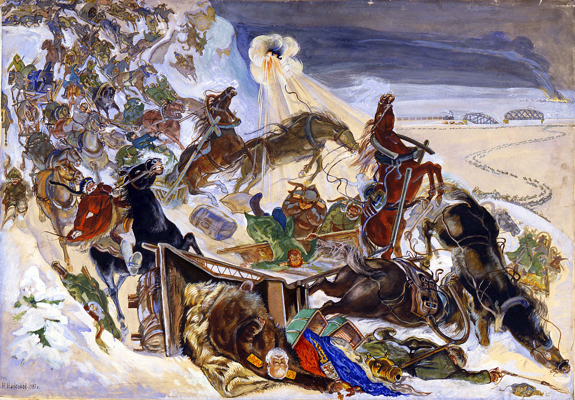 """""""Flucht der Weißen Armee von Admiral Koltschak aus Sibirien"""", Karikatur,1927, unbekannter Autor"""