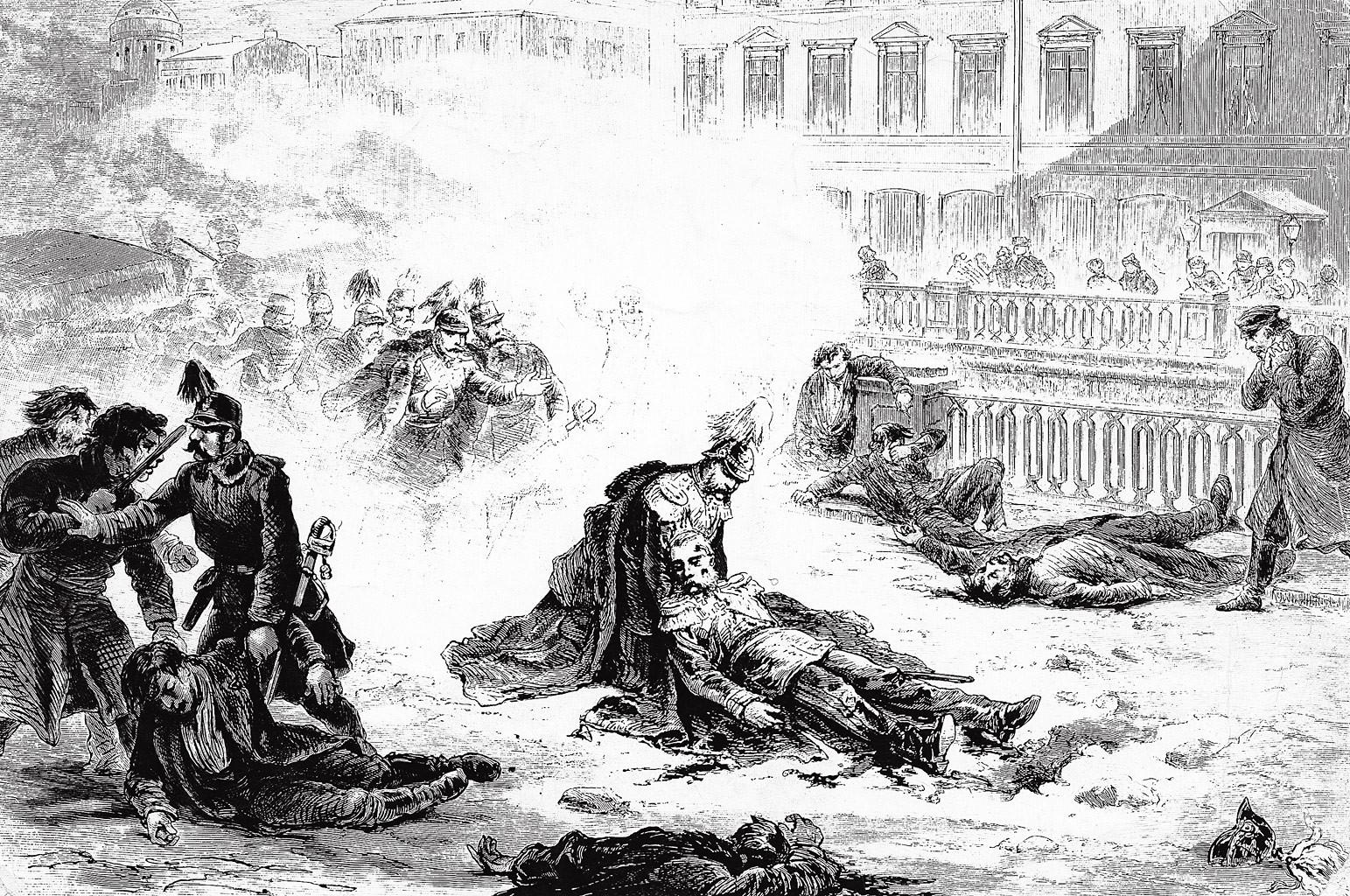 Eines von vier gescheiterten Attentaten auf Zar Alexander II., 1881