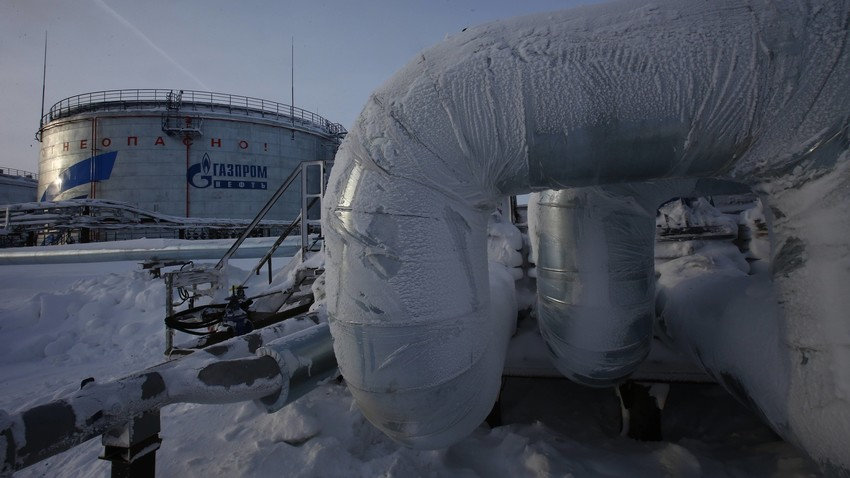 Gazprom-Anlagen des Öl- und Gasfeldes in Nowoportsk, Autonome Region Jamalo-Nenez, Nordrussland