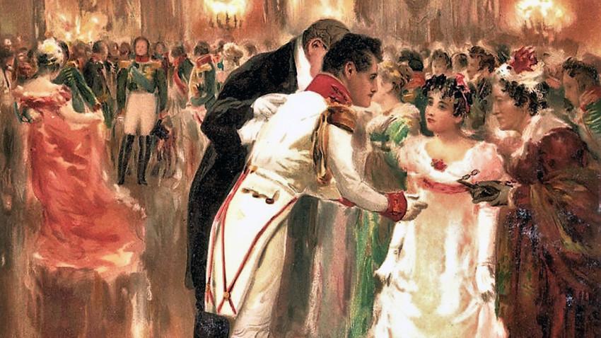 Srečanje Andreja in Nataše na plesu je eden od osrednjih prizorov Vojne in miru.