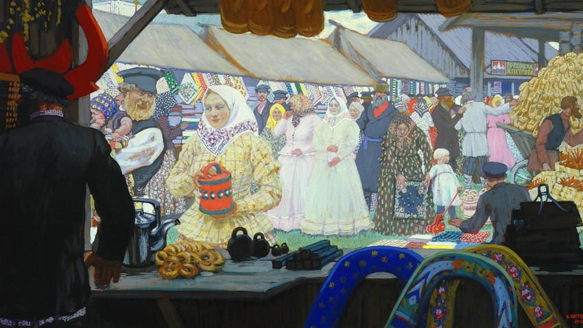 Reprodukcija slike z naslovom Sejem (1908), umetnika Borisa Kustodijeva. Državna Tretjakovska galerija.