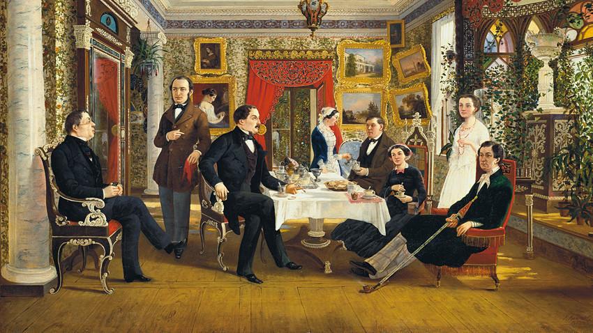 「お茶のテーブルに」、アレクセイ・ヴォロソコフ画、1851年