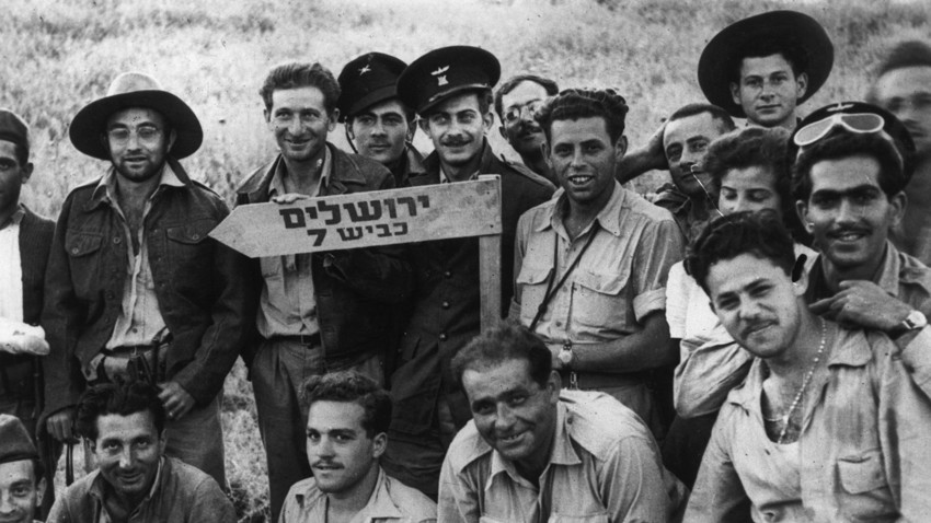 June 1948: Israeli soldiers travel on route 7 to Jerusalem during the War of Independence