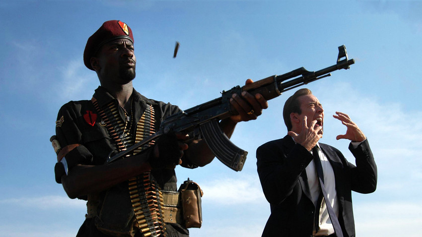 The legendary AK-47 assault rifle has stared a main 'arms' role in many Hollywood films. Pictured: Lord of war, 2005.