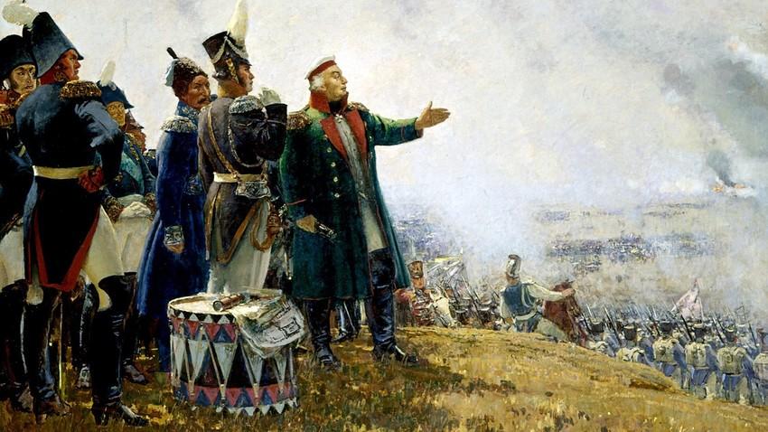 Sergej Gerasimov in Kutuzov v borodinski bitki, olje in platno, Panoramski muzej Borodino v Moskvi