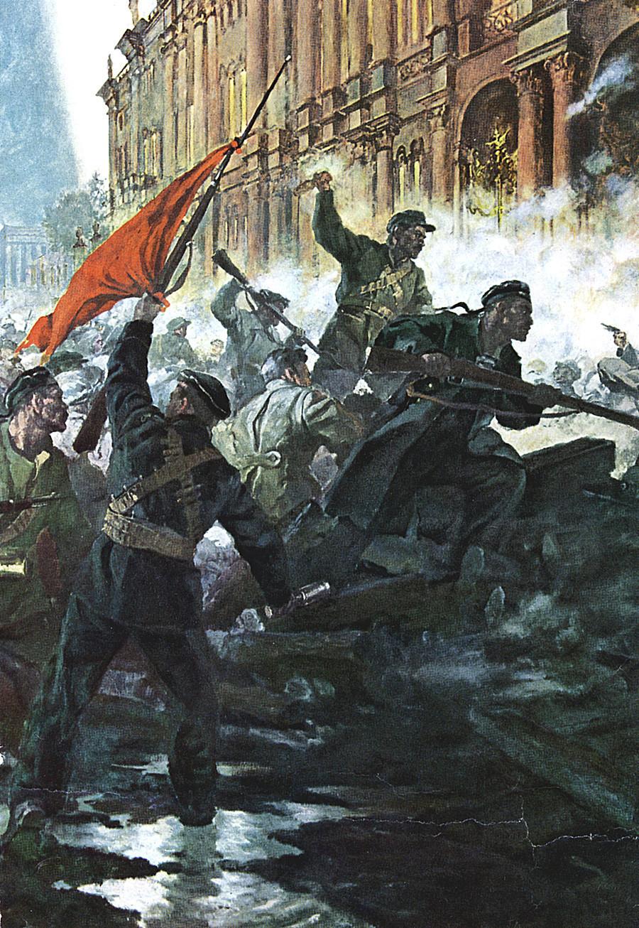 Revolusi Rusia, Oktober 1917. Serangan terhadap Istana Musim Dingin, St Peterburg (Petrograd) yang digambarkan dalam lukisan.