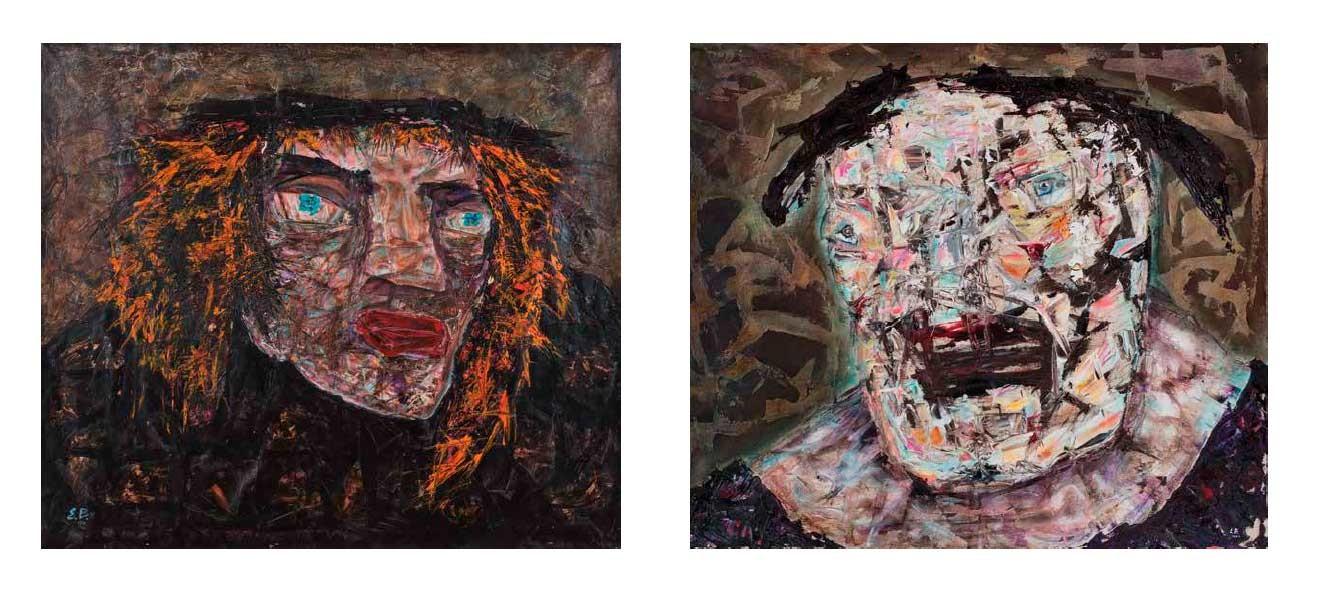 Self portrait, 1992 (left) / Another head, 1994