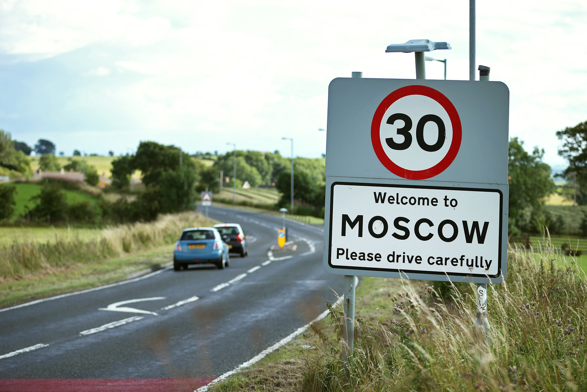 A road sign welcomes careful drivers on August 7, 2013 in Moscow, Scotland.