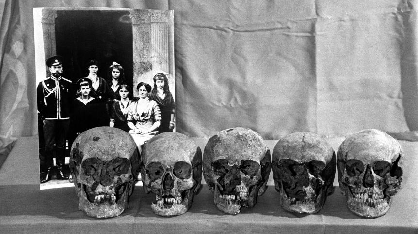 Lobanje umrlih članov carske družine.