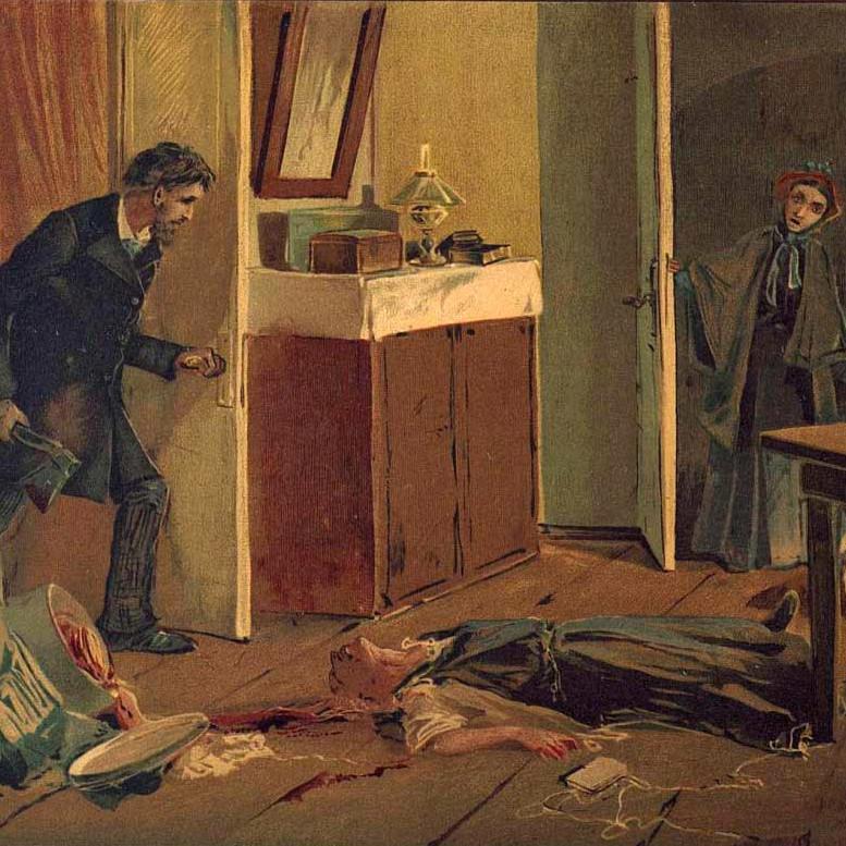 """Rodion Raskôlnikov se debate com a questão sobre ser ou não """"uma criatura que teme"""" e se """"em o direito"""" de matar."""