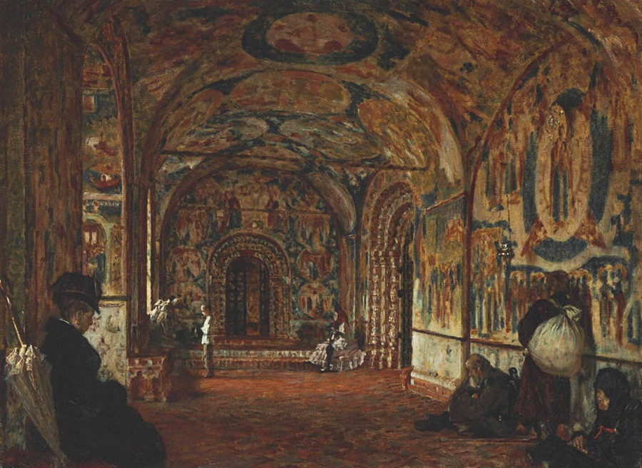 Vasily Vereshchagin. Gallery (papert) of Church of John the Baptist at Tolchkovo. Painted in 1888 in the north gallery of the church.