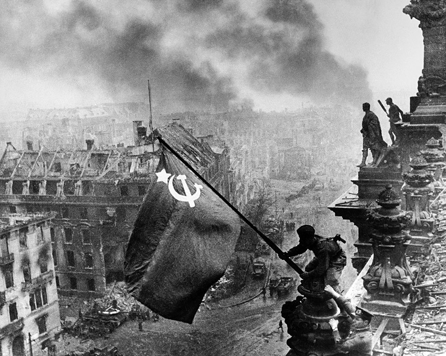 This one speaks for itself: the Victory Banner over Berlin's Reichstag, 1945.