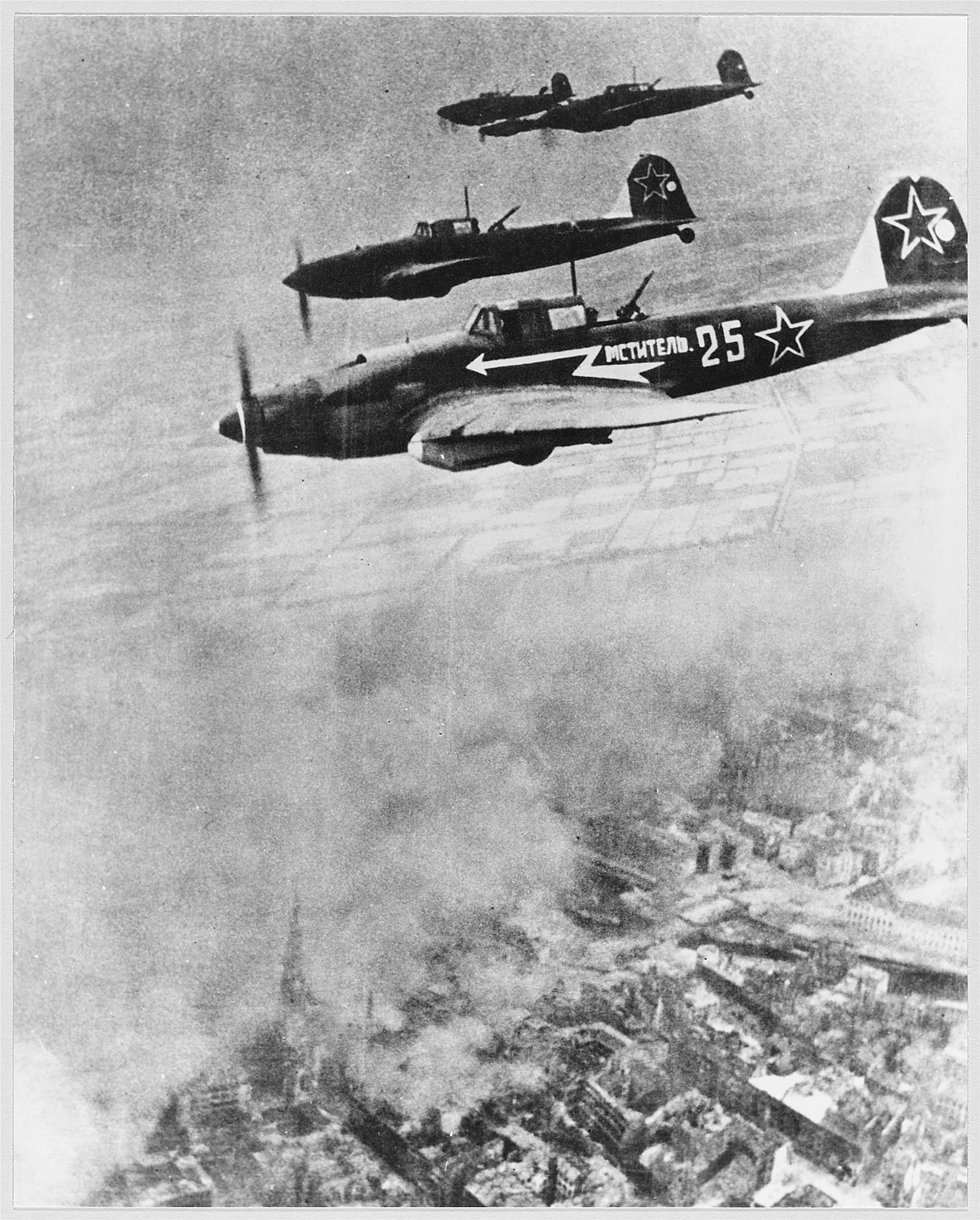 Ilyushin IL-2 aircraft over Berlin. 1945.
