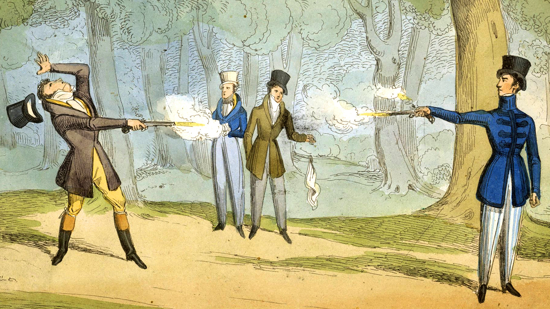 A distância tradicional entre os duelistas com pistolas na Rússia era menor que na Europa, e os russos podiam atirar a três passos.