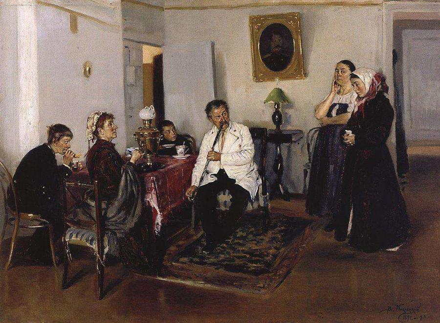 「召使いの雇用」ウラジーミル・マコーフスキー画、1891年