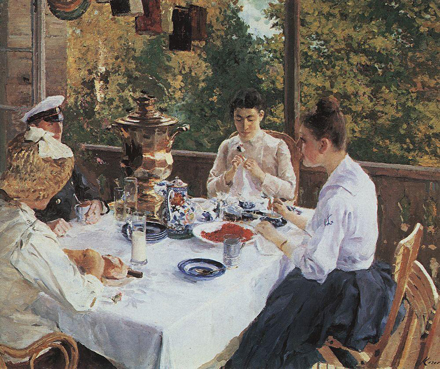 「お茶のテーブルに」コンスタンチン・コローヴィン、1888年