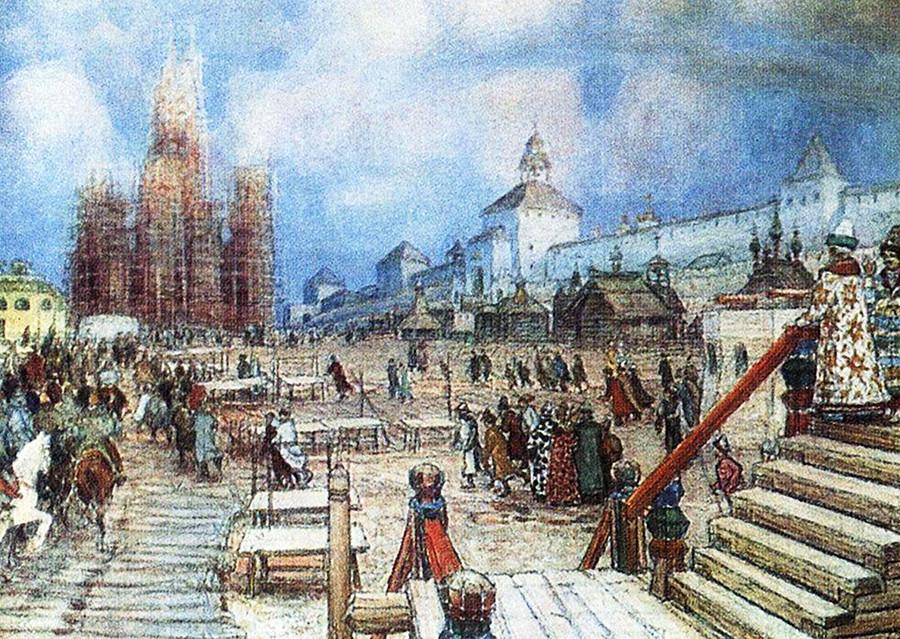 聖ワシリイ大聖堂の建設。赤の広場