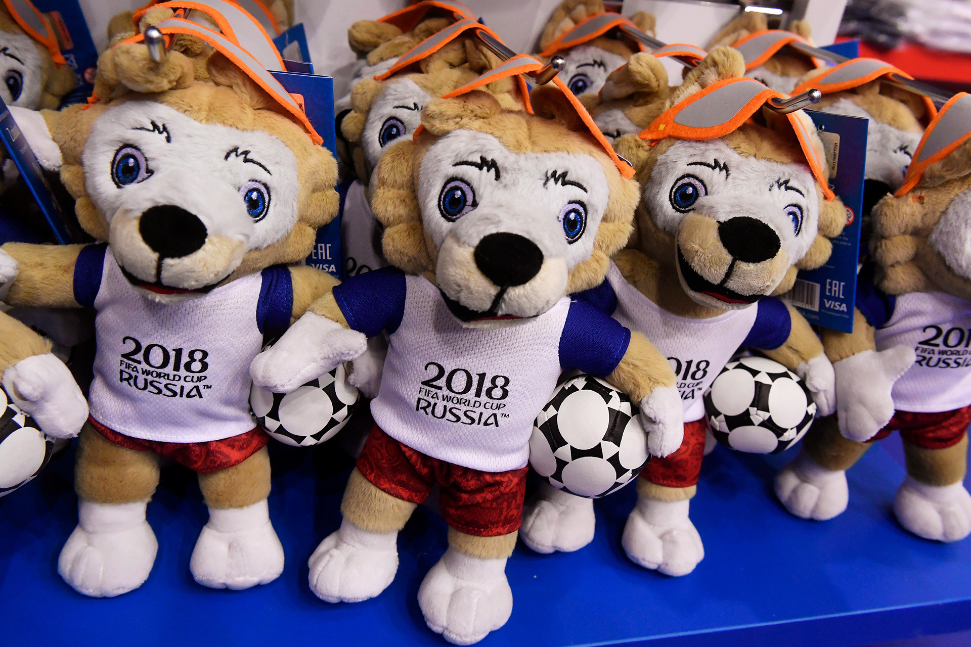 Toys of the official World Cup mascot — Zabivaka the Wolf
