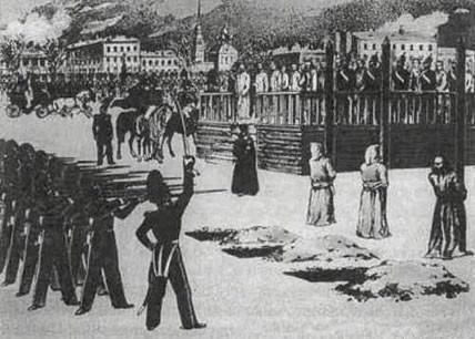 Für die Scheinhinrichtung wurden die Verurteilten in Dreiergruppen eingeteilt. Dostojewski, Pleschtschejew und Durow bildeten die (im Bild nicht dargestellte) zweite Gruppe.