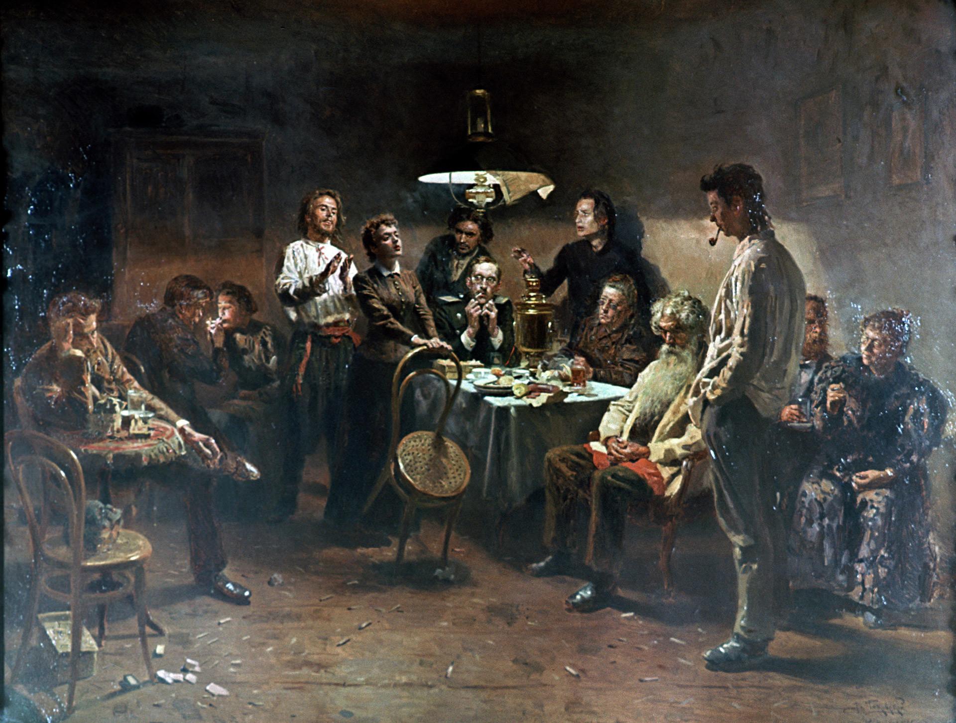 Die Abendgesellschaft von   Wladimir Makowski, 1875