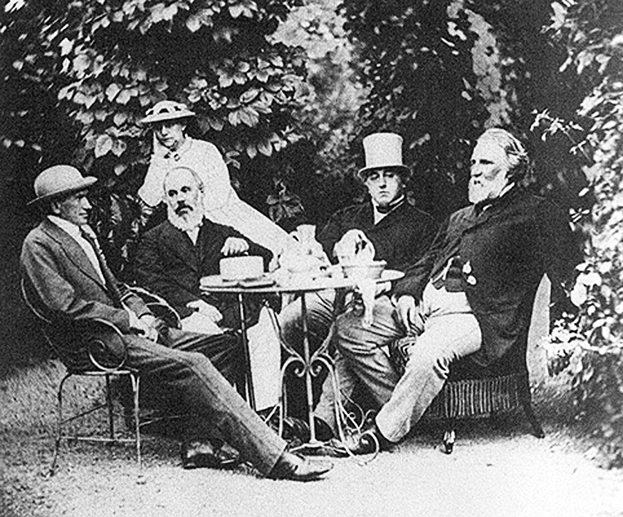 Photo of Ivan Turgenev and friends at the Malyutins' country house in Baden-Baden.