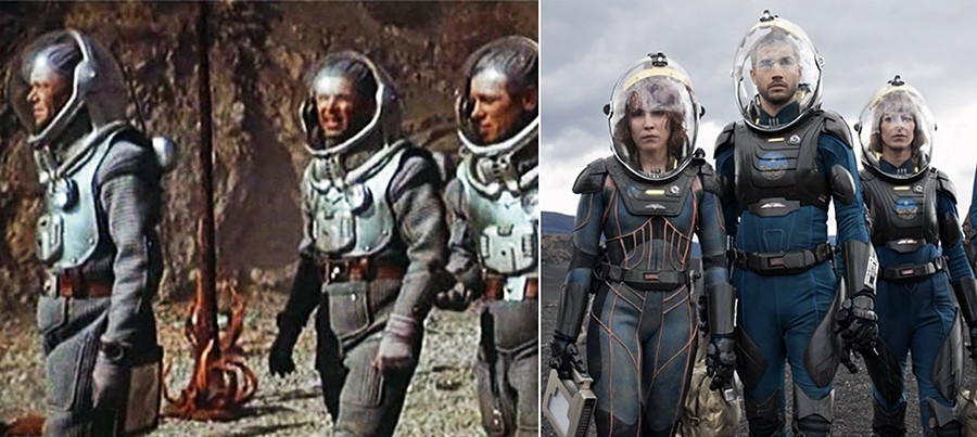 The space suits designed by Klushantsev were reportedly used in the design of actual Soviet space suits in which cosmonauts travelled to space. So it's natural that similar costumes appear in modern films.