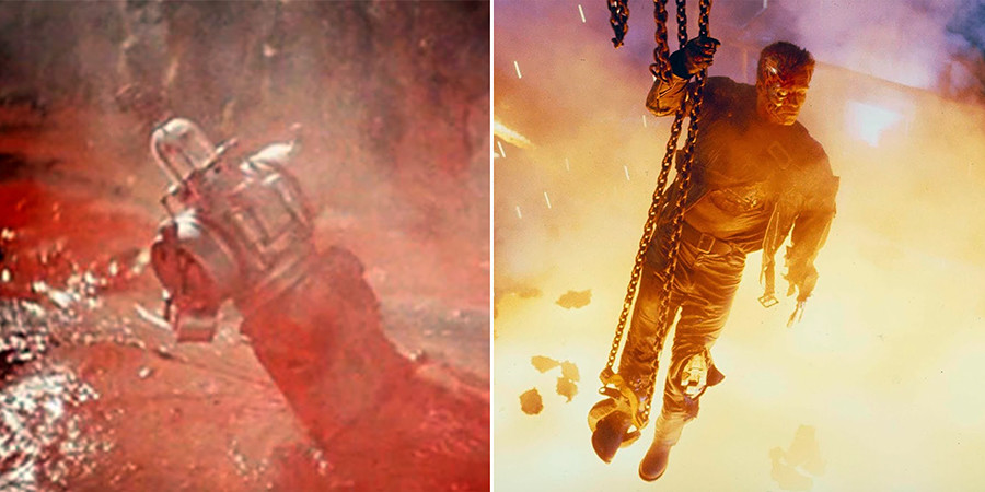 The first scene in history with a robot dying in lava was done by Klushantsev with the use of tinted dough. A similar scene occurs in Terminator 2, which Skotak also worked on.