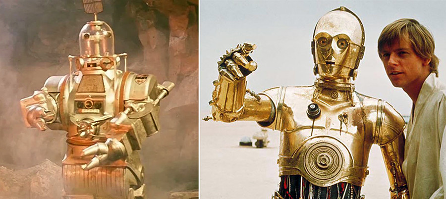 Klushantsev also first pictured a robot as a friend of a human space crew. Like a C-3PO it was also managed by a human actor inside of a robot costume.