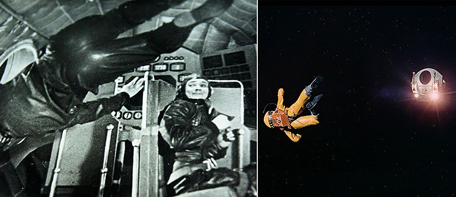 The first antigravity scene in history was filmed by Klushantsev with the help of a few steel ropes and a right camera angle. A similar approach was used by Stanley Kubrick as well.