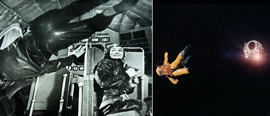 Prvi prizor breztežnosti v zgodovini je posnel Klušancev, ki je pri tem uporabil le nekaj jeklenih vrvi in pravilen kot kamere. Podoben pristop je uporabil tudi Stanley Kubrick.
