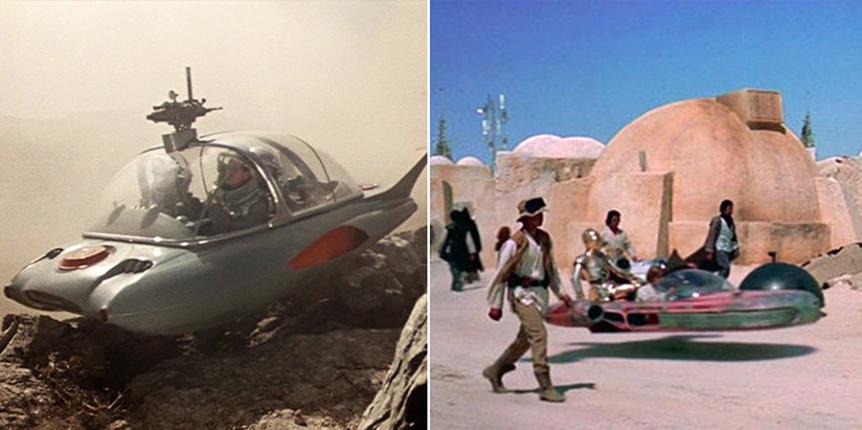 Klušancev si je prvi izmislil leteče breztežnostno vozilo za svoj film iz leta 1957. Podobno vozilo se pojavi v filmu Vojna zvezd. Naključje?