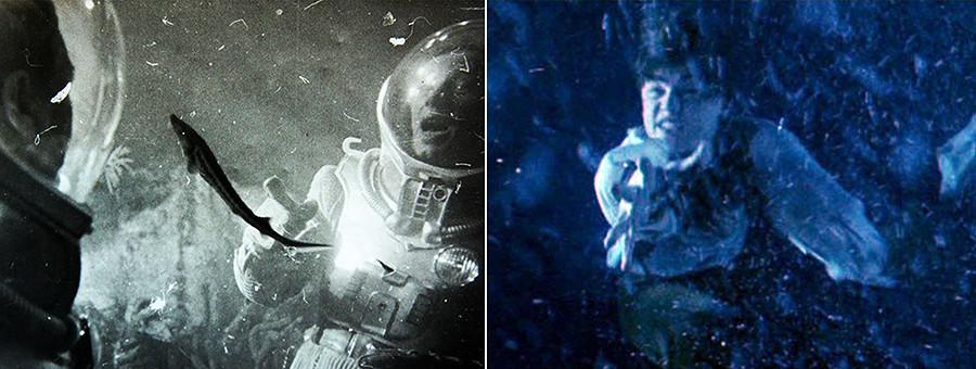 """Клушанцев је """"подводне сцене"""" снимао кроз акваријум са рибама. Сличан метод је могао бити коришћен касније у """"Титанику"""" на коме је радио Скотак."""